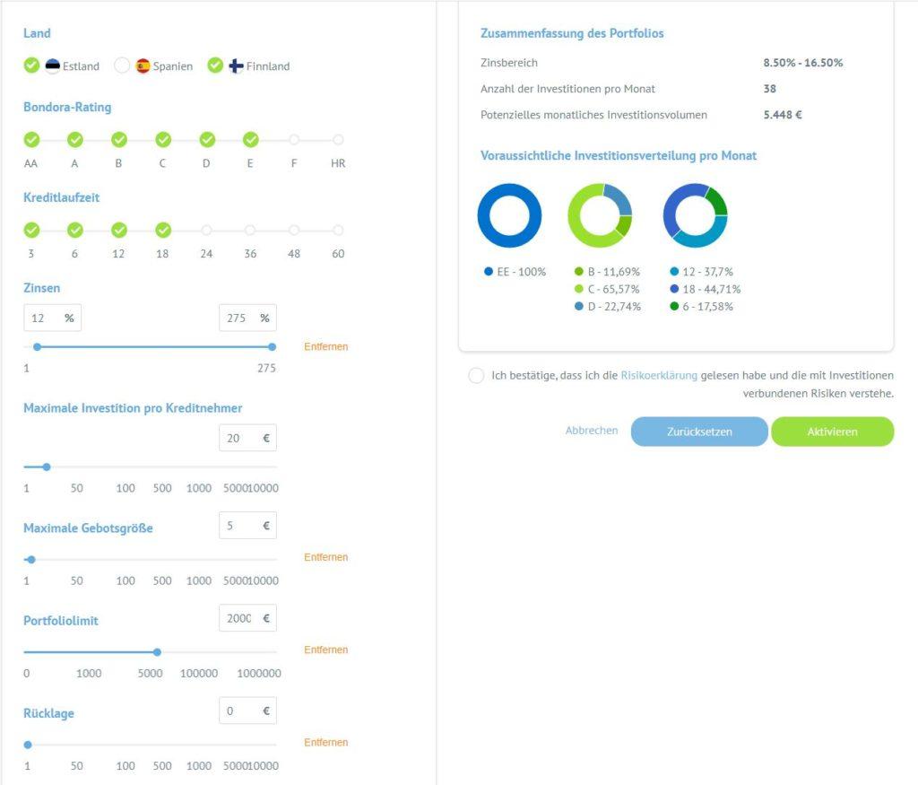 Bondora-Portfolio-pro-settings-einstellungen