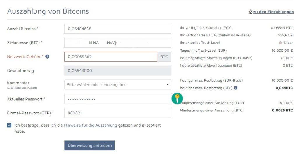 Bitcoinde-bitcoins-verschieben-auf-wallet