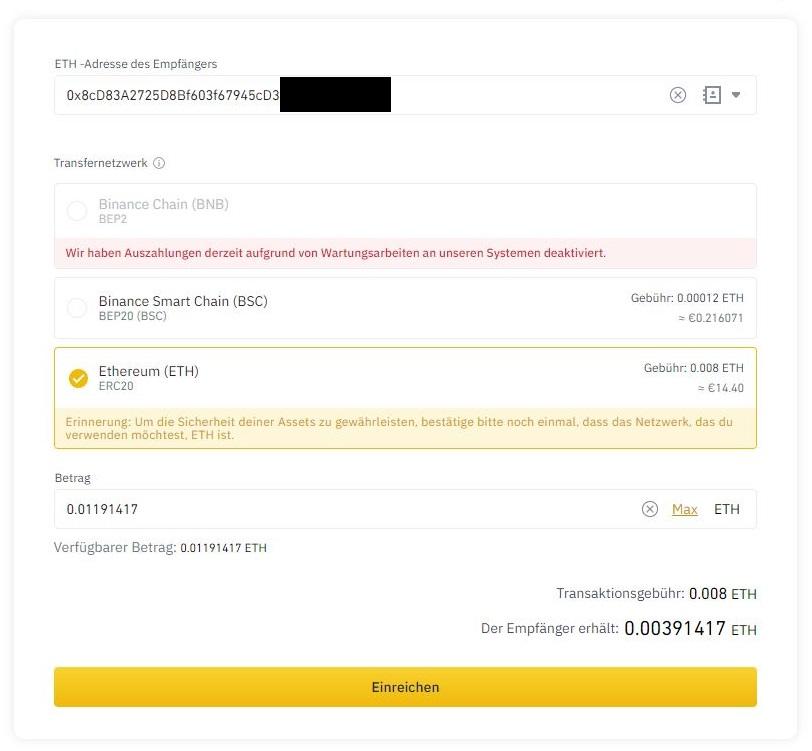 ERC20-Netzwerk-auszahlen-metamask-ausgefuellt