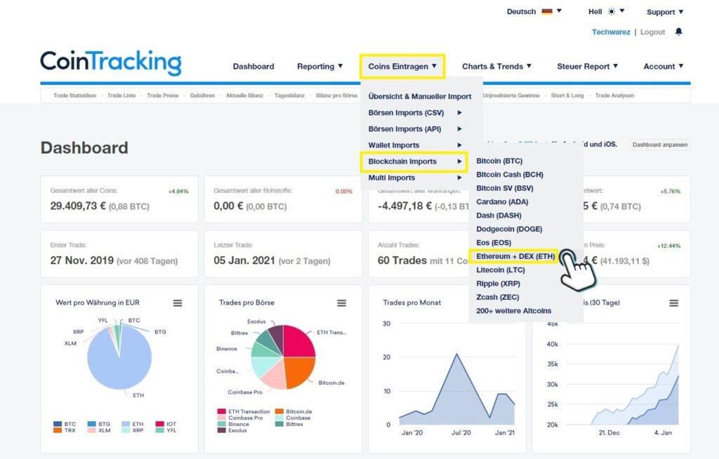 Cointracking-uniswap-csv-transaktionsliste-importieren